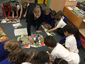 Britta Teckentrup working with the children