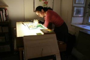 Harriet at work in her Dutch Studio
